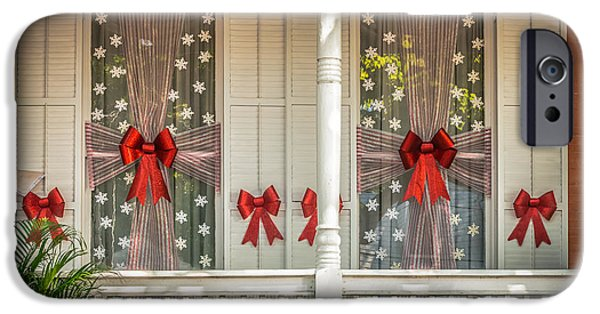 19th Century Photographs iPhone Cases - Decorated Christmas Windows Key West - HDR Style iPhone Case by Ian Monk