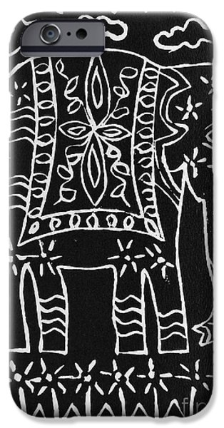 Lino Print Reliefs iPhone Cases - Decorated Elephant iPhone Case by Caroline Street
