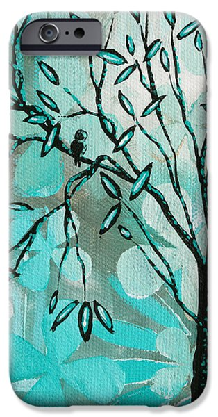 Decorative Abstract Floral Birds Landscape Painting Bird Haven I by Megan Duncanson iPhone Case by Megan Duncanson