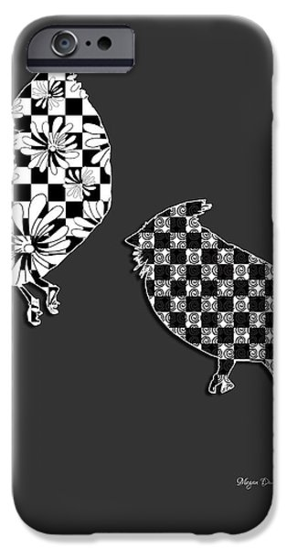 Decorative Abstract Floral Checkered Birds Decorative Design by Megan Duncanson iPhone Case by Megan Duncanson