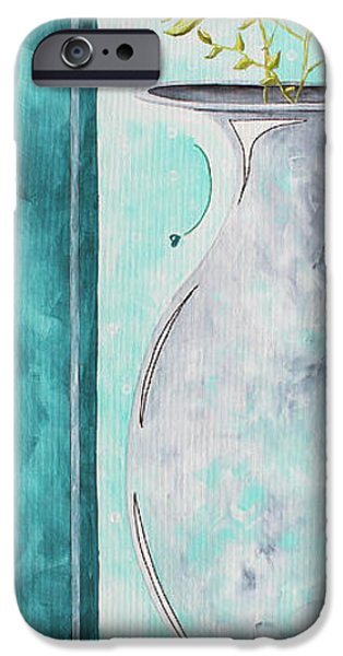Bathroom Paintings iPhone Cases - Decorative Floral Vase Painting Shabby Chic Style RELAX AND UNWIND I by MADART STUDIOS iPhone Case by Megan Duncanson