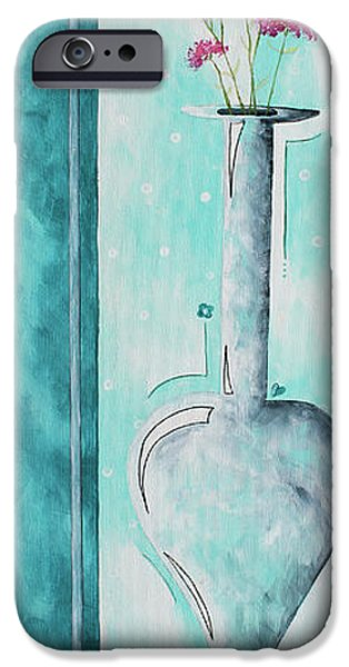 Bathroom Paintings iPhone Cases - Decorative Floral Vase Painting Shabby Chic Style RELAX AND UNWIND II by MADART STUDIOS iPhone Case by Megan Duncanson