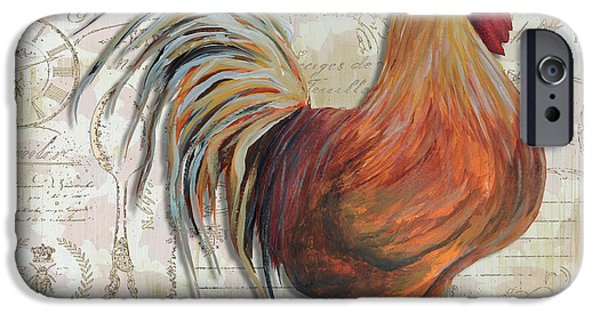Roosting iPhone Cases - Decorative Rooster Chicken Decorative Art Original Painting In the Kitchen by Megan Duncanson iPhone Case by Megan Duncanson
