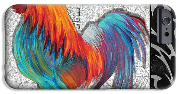 Roosting iPhone Cases - Decorative Rooster Chicken Decorative Art Original Painting King of the Roost By Megan Duncanson iPhone Case by Megan Duncanson