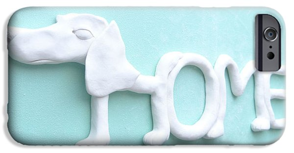 Child Sculptures iPhone Cases - Decorative Wall Home Sign - DOG iPhone Case by Lenka Kasprisin