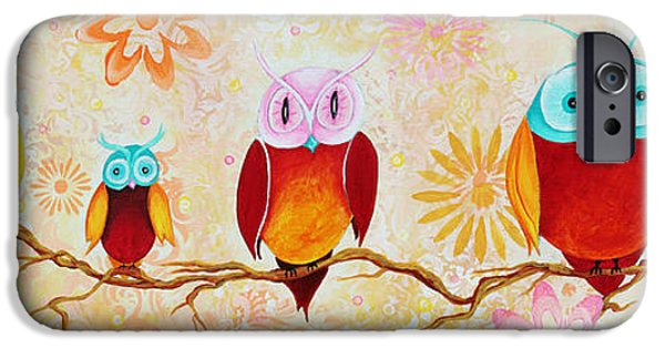 Cute. Sweet iPhone Cases - Decorative Whimsical Owl Owls Chi Omega Painting by Megan Duncanson iPhone Case by Megan Duncanson
