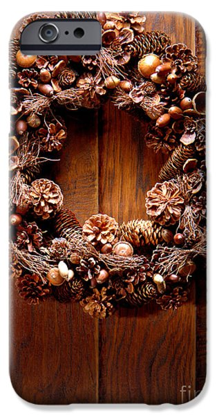 Wreath iPhone Cases - Decorative Wreath iPhone Case by Olivier Le Queinec