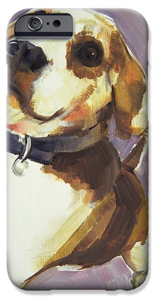 Beagles iPhone Cases - Dee, 2006 Oil On Board iPhone Case by Sally Muir