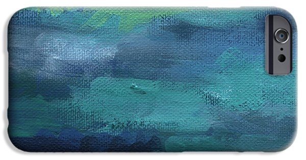 Abstract Expressionist iPhone Cases - Tranquility- abstract painting iPhone Case by Linda Woods
