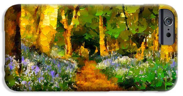 Pathway Mixed Media iPhone Cases - Deep In A Forest iPhone Case by Georgiana Romanovna