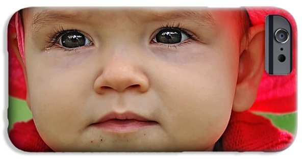Little Girl iPhone Cases - Deep in Thought iPhone Case by Kaye Menner