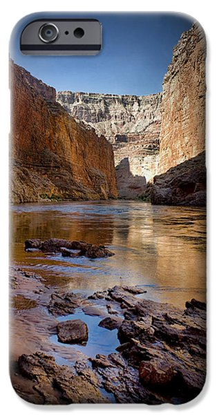 Grand Canyon Digital Art iPhone Cases - Deep inside the Grand Canyon iPhone Case by Ellen Heaverlo