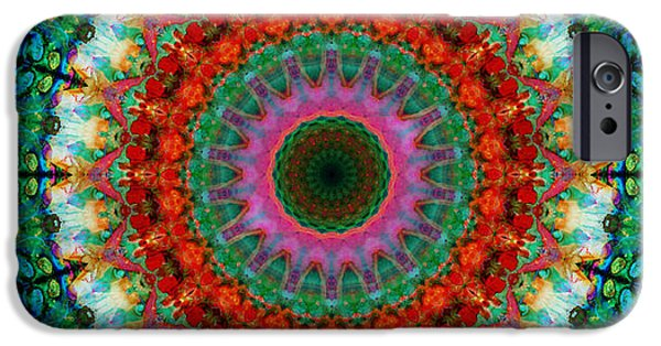 Mantra iPhone Cases - Deep Love - Mandala Art By Sharon Cummings iPhone Case by Sharon Cummings