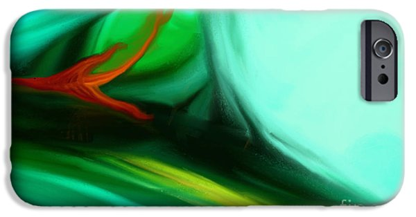 Abstract Digital Paintings iPhone Cases - Deep Sea iPhone Case by Anita Lewis