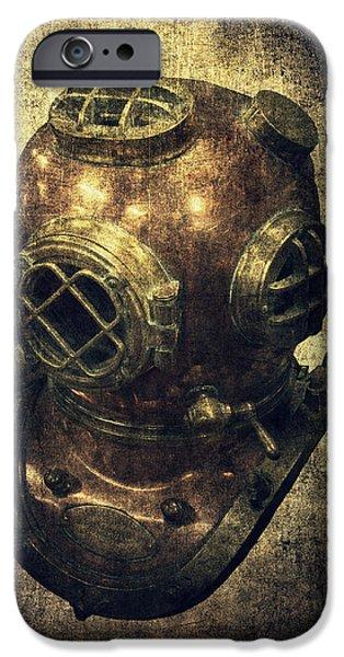 Diver iPhone Cases - Deep Sea Diving Helmet iPhone Case by Daniel Hagerman