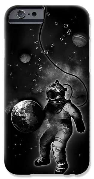 Astronaut iPhone Cases - Deep Sea Space Diver iPhone Case by Nicklas Gustafsson