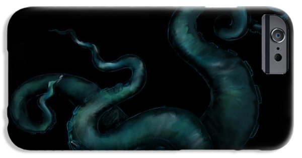Eerie iPhone Cases - Deep Sea Tentacles iPhone Case by Sheryl Westleigh