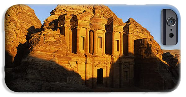 Jordan iPhone Cases - Deep Shadows At The Monastery, Al Deir iPhone Case by Panoramic Images