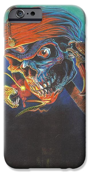 Airbrush Drawings iPhone Cases - Deep Skull iPhone Case by Jim Graves