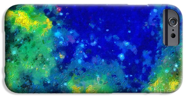 Outer Space Paintings iPhone Cases - Deep space in blue and green iPhone Case by Magomed Magomedagaev