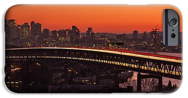 Capitol Hill iPhone Cases - Deep Sunset Hues of the Seattle Skyline iPhone Case by Mike Reid