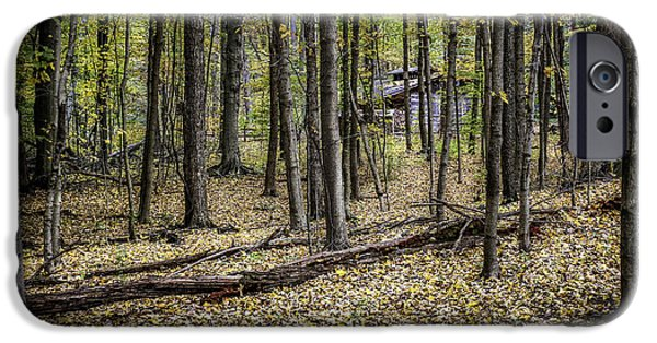 Log Cabins iPhone Cases - Deep Woods Cabin iPhone Case by Tom Mc Nemar