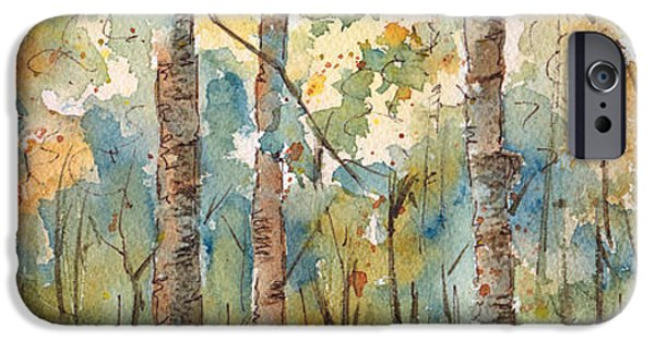 Birch Tree iPhone Cases - Deep Woods Waskesiu Horizontal iPhone Case by Pat Katz