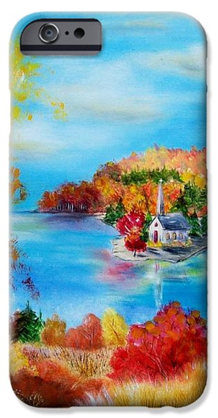 Deer and Country Church Autumn Scene iPhone Case by Melanie Palmer