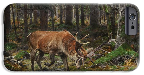 Haunted House Paintings iPhone Cases - Deer in a Forest Glade iPhone Case by Celestial Images