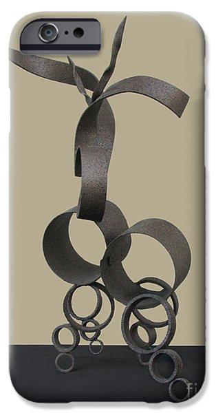 Abstract Sculptures iPhone Cases - Deer in Repose iPhone Case by Peter Piatt