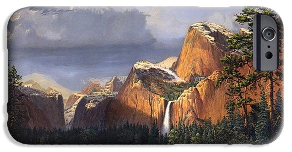 Park Scene Paintings iPhone Cases - Deer In The Meadow Blank Greeting Card iPhone Case by Walt Curlee