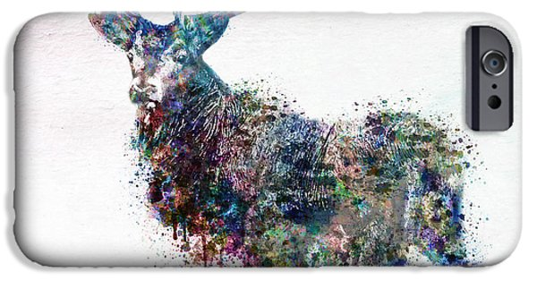 Marian iPhone Cases - Deer in watercolor iPhone Case by Marian Voicu