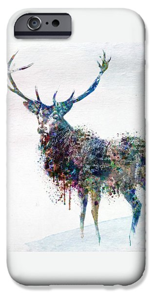 Harts iPhone Cases - Deer in watercolor iPhone Case by Marian Voicu