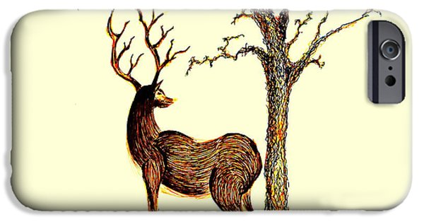 Earth Tones Drawings iPhone Cases - Deer iPhone Case by Len YewHeng