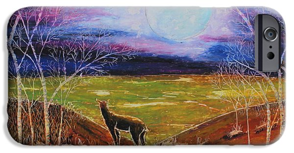 Fall Scenes Pastels iPhone Cases - Deer On The Plain iPhone Case by Jeanne Fischer
