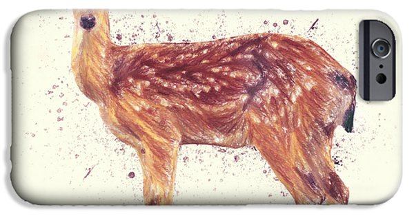 Crayons Drawings iPhone Cases - Deer Study iPhone Case by Taylan Soyturk