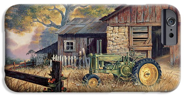 Barns Paintings iPhone Cases - Deere Country iPhone Case by Michael Humphries
