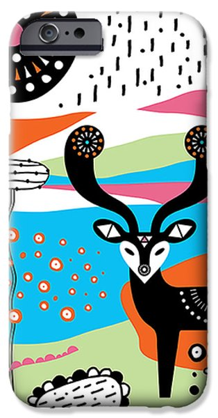 Geometric Animal iPhone Cases - Deery Me iPhone Case by Susan Claire