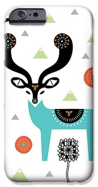 Geometric Animal iPhone Cases - Deery Mountain iPhone Case by Susan Claire