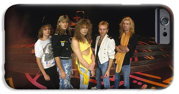 Band Photo iPhone Cases - Def Leppard - Round Stage 1987 iPhone Case by Epic Rights