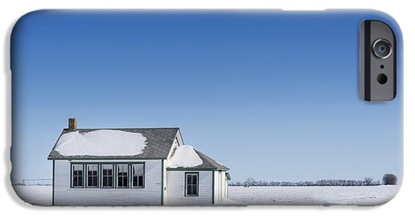 Abandoned School House. iPhone Cases - Defunct Country School Building In Winter iPhone Case by Donald  Erickson