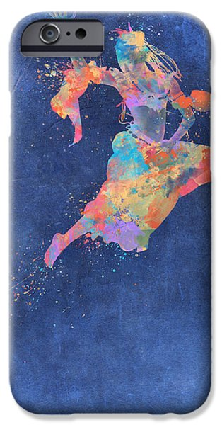 Vibrant Colors Drawings iPhone Cases - Defy Gravity Dancers Leap iPhone Case by Nikki Marie Smith