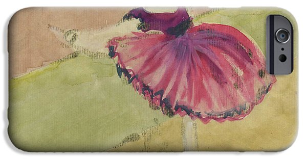 Printmaking iPhone Cases - Degas Dancer in Pink 1994.  iPhone Case by Cathy Peterson