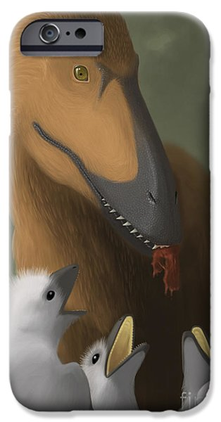 Deinonychus Dinosaur Feeding Its Young iPhone Case by Michele Dessi