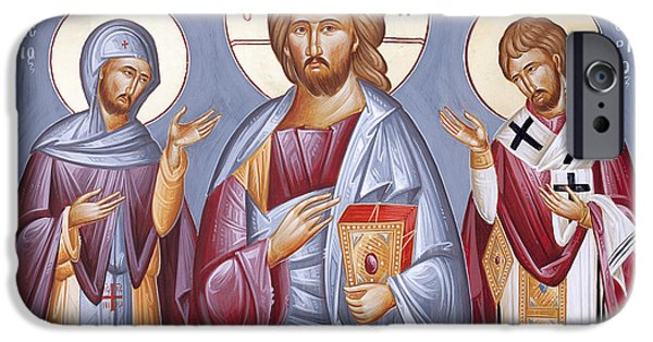 Deisis Icon iPhone Cases - Deisis Jesus Christ St Anastasios and St Eleftherios iPhone Case by Julia Bridget Hayes