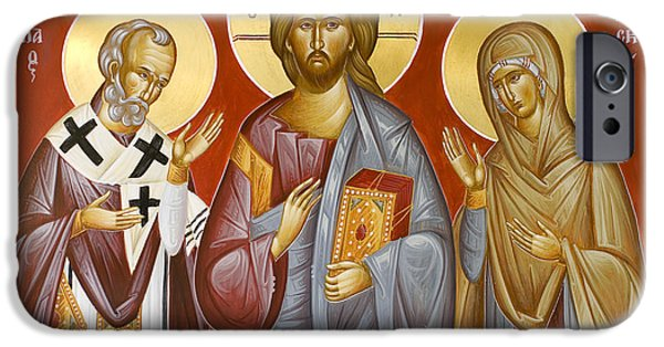 Deisis Icon iPhone Cases - Deisis Jesus Christ St Nicholas and St Paraskevi iPhone Case by Julia Bridget Hayes