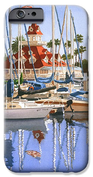 Boathouses iPhone Cases - Del Coronado Boathouse iPhone Case by Mary Helmreich