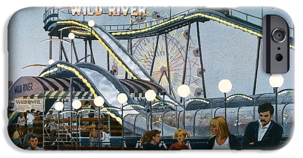 Amusements iPhone Cases - Del Mar Fair at Night iPhone Case by Mary Helmreich