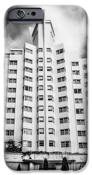 Ianmonk iPhone Cases - Delano Hotel - South Beach - Miami - Florida - Black and White iPhone Case by Ian Monk