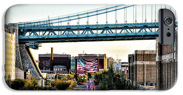 Franklin Digital Art iPhone Cases - Delaware Avenue and the Ben Franklin Bridge iPhone Case by Bill Cannon